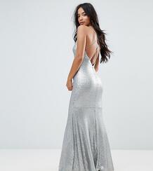 Платье макси с пайетками и бретельками на спине TFNC Petite 1167189