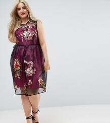 Сетчатое платье миди с контрастной подкладкой и вышивкой ASOS CURVE PR 1116663