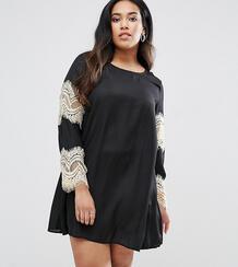 Свободное платье с кружевными рукавами AX Paris Plus - Черный 1038696