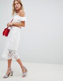 Кружевная юбка миди с оборкой River Island - Белый 1100051