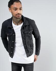 Черная выбеленная джинсовая куртка River Island - Черный 1032889