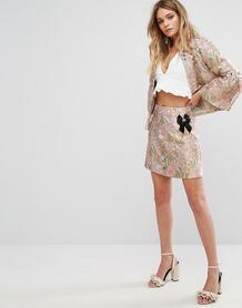 Жаккардовая юбка металлик с брошью River Island - Мульти 1100043