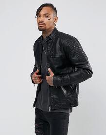 Черная байкерская куртка из искусственной кожи River Island - Черный 715213