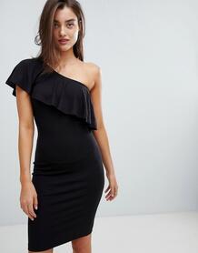 Платье с оборкой на одно плечо Minimum - Черный 928088