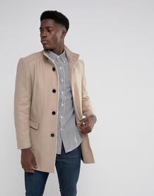 Пальто с добавлением шерсти и воротом-трубой Selected Homme - Бежевый 1092403