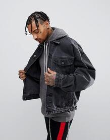 Черная выбеленная oversize-джинсовая куртка ASOS DESIGN - Черный 1099836