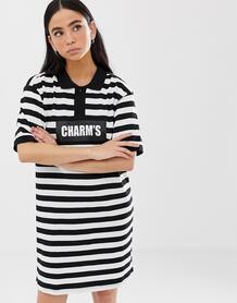 Платье-поло в широкую полоску с логотипом Charms - Черный 1162301