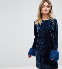 Платье мини из мятого бархата с искусственным мехом на манжетах Anna S Anna Sui 1127380