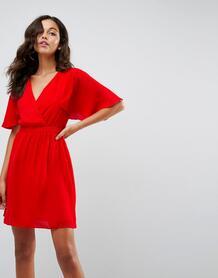 Платье мини с рукавами клеш ASOS - Красный ASOS DESIGN 1125708