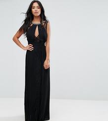 Платье макси с высоким воротом, отделкой и кружевными вставками TFNC P TFNC Petite 1130834