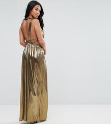 Платье макси с V-образным вырезом и плиссированными вставками на спине TFNC Petite 1130820