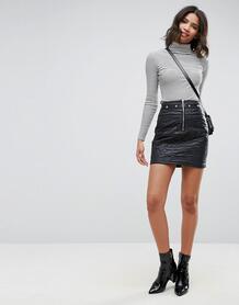 Стеганая мини-юбка с заклепками и молнией ASOS - Черный 1094722
