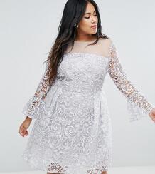 Приталенное платье миди с вышивкой и рукавами-клеш Truly You - Золотой 1146386