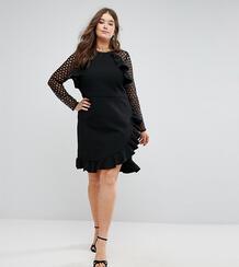 Платье с кружевными рукавами и запахом Truly You - Черный 1146369