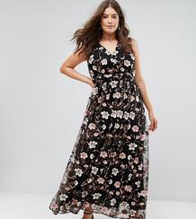 Платье макси с V-образным вырезом и вышивкой Truly You - Мульти 1146344