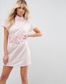 Платье-футболка мини с виниловым корсетом ASOS - Розовый ASOS DESIGN 1127328