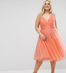 Платье миди для выпускного из тюля ASOS CURVE - Оранжевый 1073759