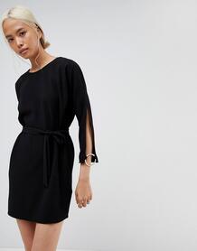 Свободное платье мини с разрезами и кольцами на рукавах ASOS - Черный ASOS DESIGN 1140542
