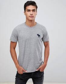 Серая меланжевая футболка слим с круглым вырезом и крупным логотипом A Abercrombie& Fitch 1124299