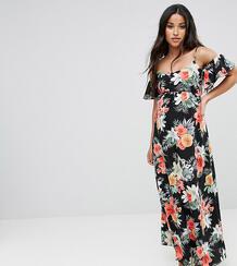 Платье макси с открытыми плечами и цветочным принтом Queen Bee Materni 1122014