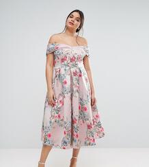 Жаккардовое платье для выпускного миди ASOS CURVE SALON - Мульти 985816