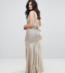 Платье макси цвета металлик с высоким воротом TFNC Plus - Золотой 1130814