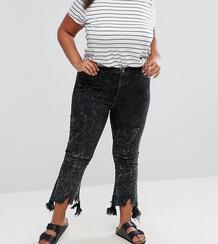 Черные выбеленные укороченные джинсы клеш с необработанным краем ASOS Asos Curve 1059449