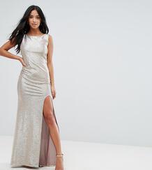 Платье макси металлик с высоким воротом и узлом на спине TFNC Petite 1130812