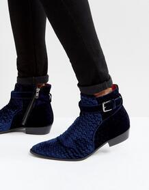 Ботинки из бархата Walk London Ziggy - Синий 1073155