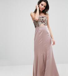 Платье-бандо макси с вырезом на лифе True Decadence Petite - Золотой 936300
