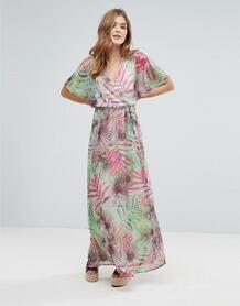Платье макси с пальмовым принтом и рукавами-кимоно Lavand - Зеленый 1120380