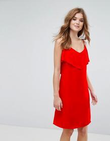 Платье на бретелях с оборкой Lavand - Красный 1120365