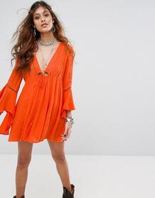 Платье с рукавами клеш Free People Romeo - Оранжевый 1119701