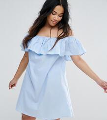 Платье из шамбре с открытыми плечами и рюшами AX Paris Plus - Синий 1085319