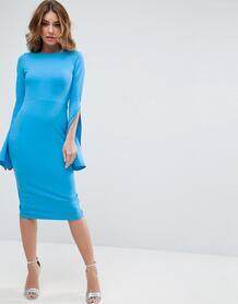 Платье миди с разрезами на рукавах ASOS - Синий ASOS DESIGN 1039527