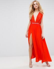 Платье макси с глубоким декольте и декоративной отделкой на талии ASOS ASOS DESIGN 1005231