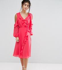 Приталенное платье с открытыми плечами и запахом True Decadence Petite 1004254