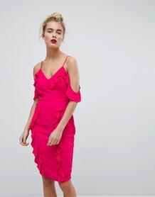 Платье миди с открытыми плечами и оборками Missguided - Фиолетовый 1006145