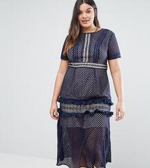 Кружевное платье миди Truly You - Темно-синий 988672