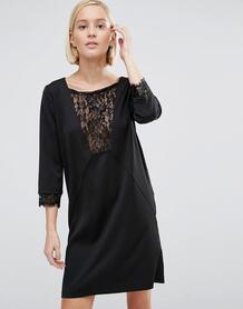 Цельнокройное платье с кружевной вставкой Minimum - Черный 937585