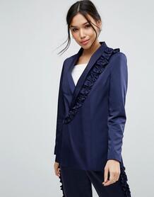 Пиджак с оборкой ASOS - Темно-синий 936482