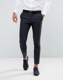 Облегающие брюки в клетку с добавлением шерсти Selected Homme 1042450