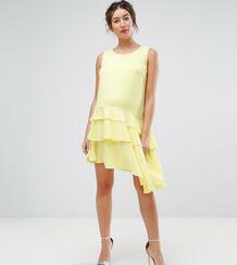 Платье мини с асимметричной оборкой по краю Queen Bee Maternity 1121940