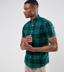 Зеленая клетчатая рубашка из эластичного поплина узкого кроя ASOS DESI 1067066