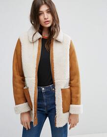 Пальто из искусственной овчины ASOS - Рыжий 1029919