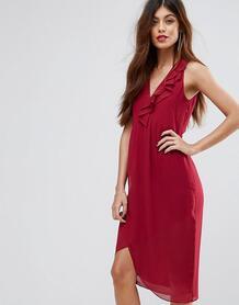 Платье миди с оборкой Sisley - Розовый 1105127