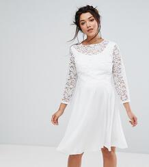 Платье миди с кружевным верхним слоем Queen Bee Maternity - Белый 1121654