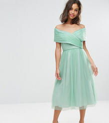 Платье миди из тюля ASOS PETITE WEDDING - Зеленый 1049892