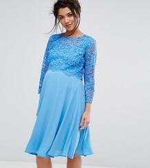Свободное платье миди с кружевной накладкой и рукавами 3/4 Queen Bee 1080491
