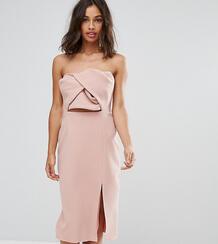 Платье-бандо миди с большим бантом True Decadence Petite - Розовый 1056933